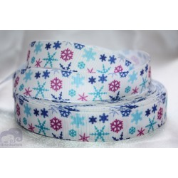 Snow Christmas Printed Grosgrain Ribbon 22mm -Crafts