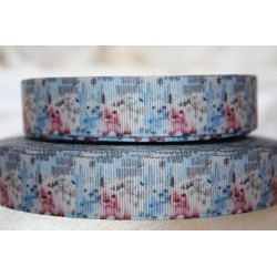 "1 metre 7/8"" Next M2M * Winter bunny * Grosgrain Ribbon"