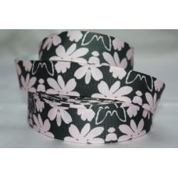 "1 metre 7/8"" Next M2M * Black Floral * Grosgrain Ribbon"