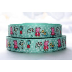 "1 metre 7/8"" Next M2M * Peppa Pig- Green * Grosgrain Ribbon"