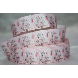 "1 metre 7/8"" Next M2M * Peppa Pig- Light Pink* Grosgrain Ribbon"