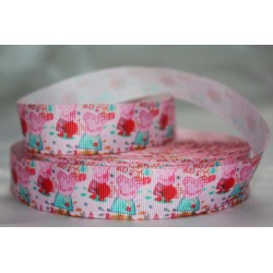 "1 metre 7/8"" Next M2M * Peppa Pig- Pink * Grosgrain Ribbon"