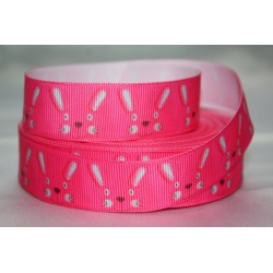 "1 metre 7/8"" Next M2M * Pink Bunny Head * Grosgrain Ribbon"