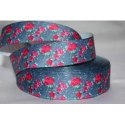 "1 metre 7/8"" Next M2M * Fushia flower* Grosgrain Ribbon"
