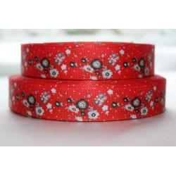 "1 metre 7/8"" Next M2M * Red Flower * Grosgrain Ribbon"