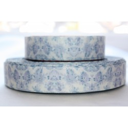 "1 metre 7/8"" Next M2M * Light Blue Floral * Grosgrain Ribbon"