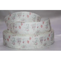 "1 metre 7/8"" Next M2M * White Fairy * Grosgrain Ribbon"