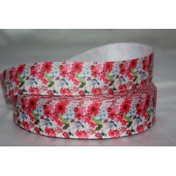 "1 metre 7/8"" Next M2M * Red Flower * Grosgrain Ribbon"