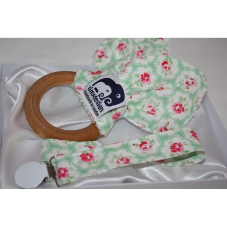Baby gift set natural wooden teether Ring and Fabric Dummy Clip