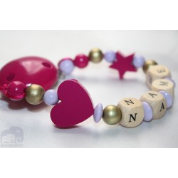 Fushia Heart Personalised Wooden Dummy clip / Chain