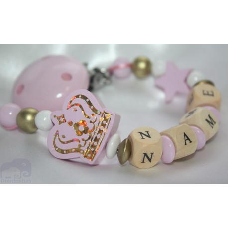 Pink Big Crown Personalised Wooden Dummy Clip, Holder,Strap, Chain