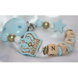 Blue Big Crown Personalised Wooden Dummy Clip, Holder,Strap, Chain