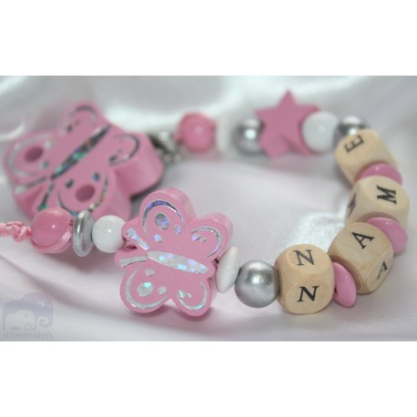 Pink Butterfly Personalised Wooden Dummy Clip/Chain
