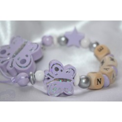 Lavender Butterfly Personalised Wooden Dummy Clip/Chain
