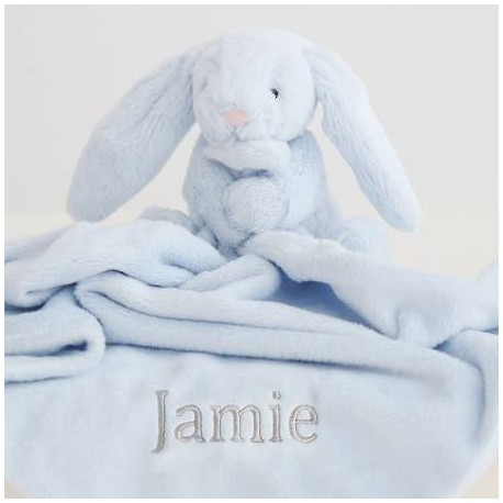 Personalised Jellycat Blue Bunny Comforter, Bunny Soother