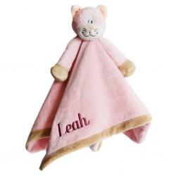 PERSONALISED Teddykompaniet - Diinglisar Pink CAT - Baby Comfort Blanket