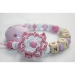 Crochet Flower Personalised Wooden Dummy Clip/Chain
