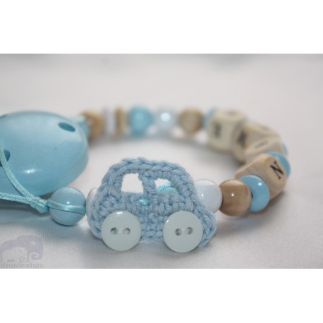Crochet Car Personalised Wooden Dummy Clip / Chain