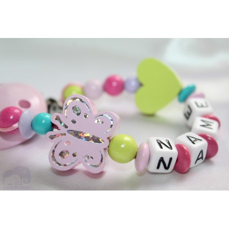 Multi Butterfly Personalised Wooden Dummy Clip/Chain