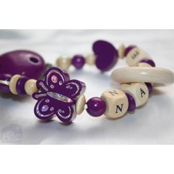 Teething Purple Butterfly Personalised Wooden Dummy Clip/Chain