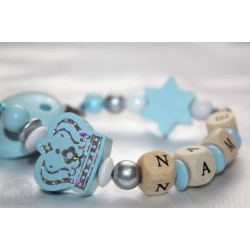 Blue/ Silver Big Crown Personalised Wooden Dummy Clip, Holder,Strap, Chain