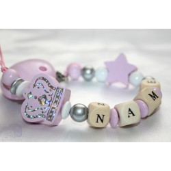 Pink / Silver Big Crown Personalised Wooden Dummy Clip, Holder,Strap, Chain
