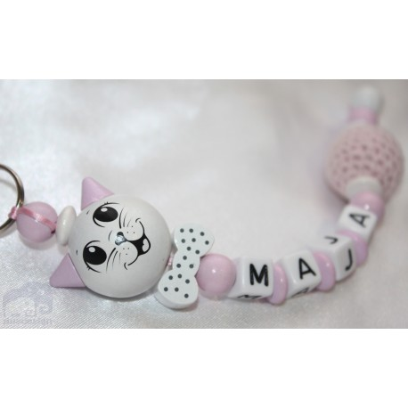 3D Pink Cat Personalised Kids Keyrings
