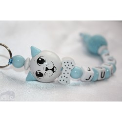3D Blue Cat Personalised Kids Keyrings