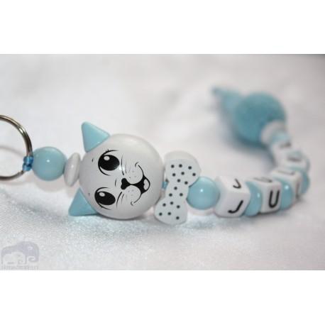 3D Blue Cat Personalised Kids Keyrings