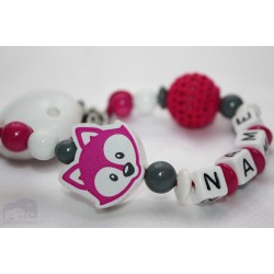 Fox *Fushia* Personalised Wooden Dummy Chain