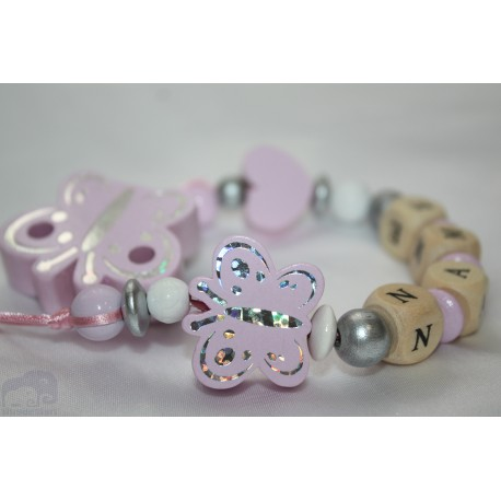 Baby Pink Butterfly Personalised Wooden Dummy Clip/Chain