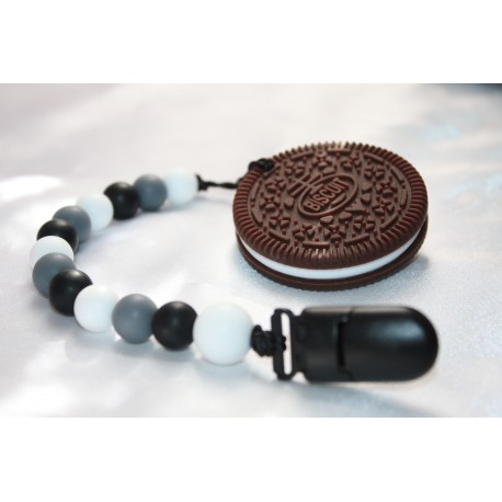 Cookie Biscuit Oreo Beaded Teether Teething Baby Carrier Stroller Toy