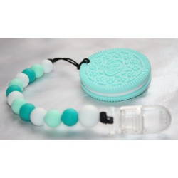 Turquoise Cookie Biscuit Oreo Beaded Teether Teething Baby Carrier Stroller Toy