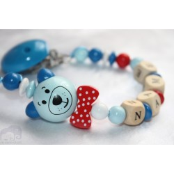 3D Blue Cat with Bow * Personalised Wooden Dummy Chain