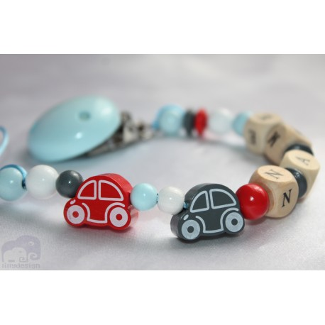 Two Car's -Red & Grey Personalised Wooden Dummy Chain