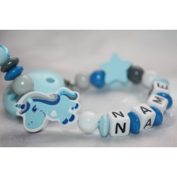 Blue UNICORN Personalised Wooden Dummy Chain