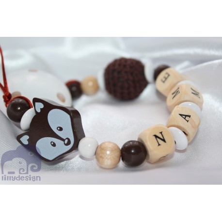 Brown Fox Personalised Wooden Dummy clip / Chain