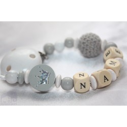 Grey Glitter Crown Personalised Wooden Dummy Chain