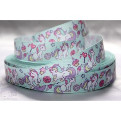 Unicorn Printed Grosgrain Ribbon 22mm -Crafts