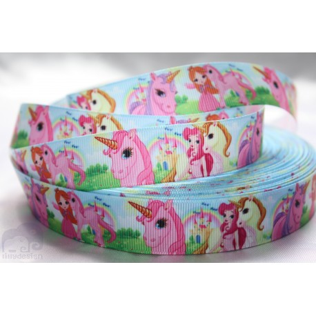 Unicorn / Pink Character Grosgrain Ribbon , Crafts - 1m