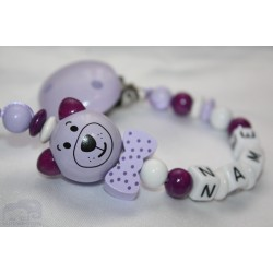 3D Purple Cat with bow Personalised Wooden Dummy clip / Chain