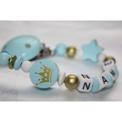 Blue Gold Crown Personalised Wooden Dummy clip / Chain