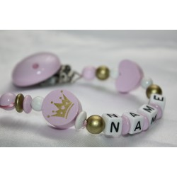Pink / Gold Crown Personalised Wooden Dummy clip / Chain