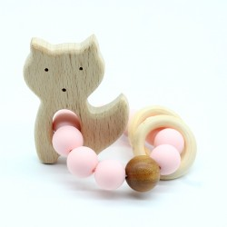 Wooden Baby Bracelet Animal Shaped Jewelry Teething For Baby Organic Wood Silicone Beads Baby Accessories Toys CAT