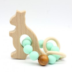 Wooden Baby Bracelet Animal Shaped Jewelry Teething For Baby Organic Wood Silicone Beads Baby Accessories Toys KANGURO
