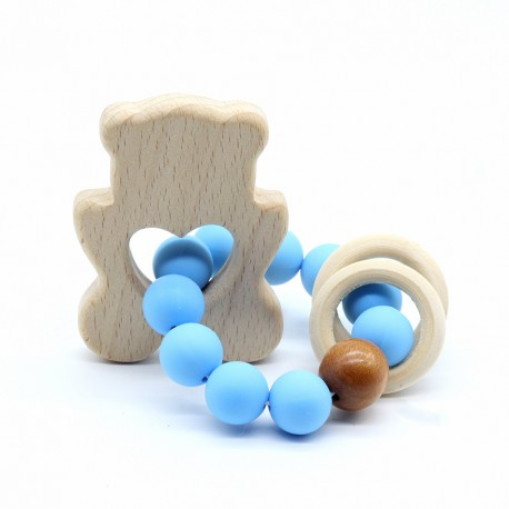 Wooden Baby Bracelet Animal Shaped Jewelry Teething For Baby Organic Wood Silicone Beads Baby Accessories Toys BEAR