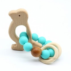 Wooden Baby Bracelet Animal Shaped Jewelry Teething For Baby Organic Wood Silicone Beads Baby Accessories Toys BEARD
