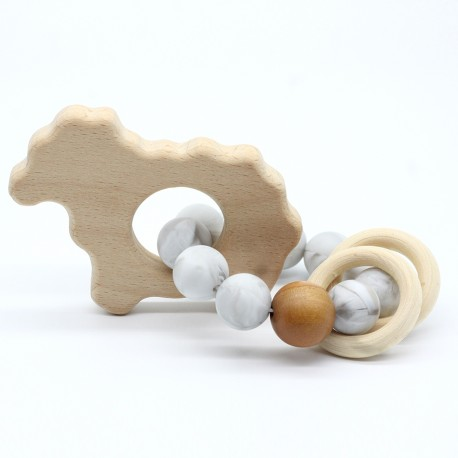 Wooden Baby Bracelet Animal Shaped Jewelry Teething For Baby Organic Wood Silicone Beads Baby Accessories Toys SHEEP