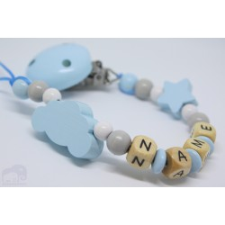 Blue Cloud Personalised Wooden Dummy clip / Chain