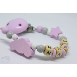 Pink Cloud Personalised Wooden Dummy clip / Chain